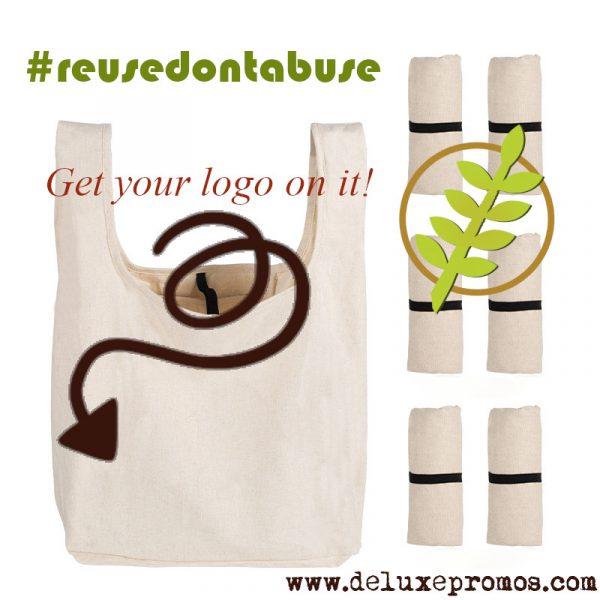 reusable foldable cotton grocery bag